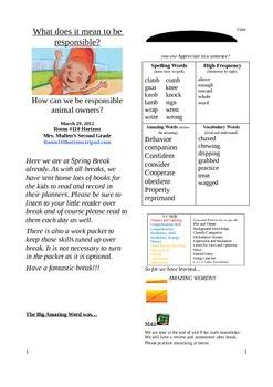 2.5.3 Bad Dog Dodger Street 2nd Grade Newsletter Unit 5 Week 3
