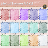 254 Glitter & Watercolor Floral Frames 8.5x11 Wedding Cards