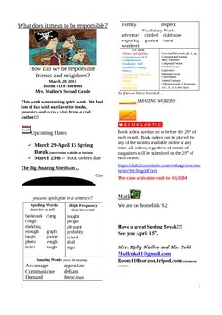 2.5.4 Horace and Morris Street 2nd Grade Newsletter Unit 5 Week 4