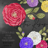 254 Rose with Gold Glitter Dust Digital Images Save The Date