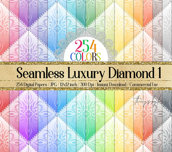 254 Seamless Luxury Color Diamond Upholstery Digital Papers