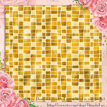 254 Seamless Metallic Foil Mosaic Digital Papers 12x12 inch