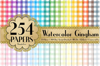 254 Seamless Watercolor Gingham Digital Papers