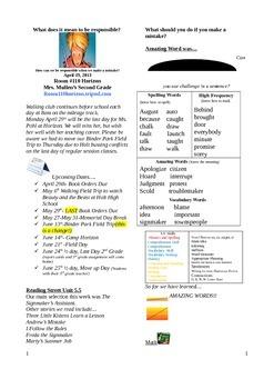 2.5.5 Signmaker's Assistant Street 2nd Grade Newsletter Unit 5 Week 5