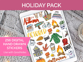 256 Digital Holiday Clip Art - Sticker PNGs and GoodNotes Booklet