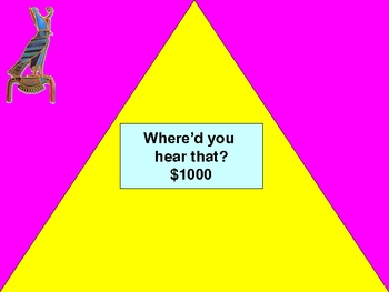 $25K Pyramid Game- Middle Grades Language Arts Game #2