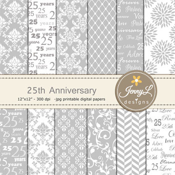 25th Silver Wedding Anniversary Digital Papers