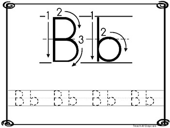 26 8x10 Alphabet Directional Tracing Printable Worksheets in a PDF file.