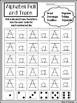 26 alphabet roll and trace printable worksheets preschool kindergarten phonics. Black Bedroom Furniture Sets. Home Design Ideas
