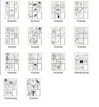 26 Alphabet Visual Print-Outs, A-Z (8 illustrations/page!)