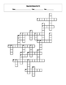 26 Answer Ology List of Sciences Part VII Crossword with Key