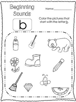 26 Beginning Sounds Color the Picture No Prep Worksheets