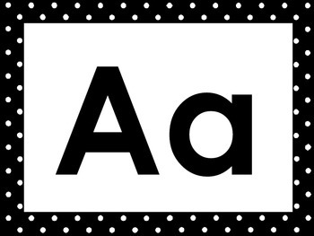 26 Black and White Alphabet Posters with Uppercase and Lowercase Letters