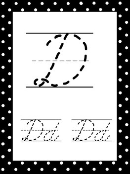 26 Black and White Cursive Alphabet Tracing Posters