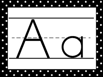 26 Black and White Lined Alphabet Posters.