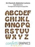 26 Cheetah Leopard Alphabet Letters Safari Camp Wild Animal Clip Art (Not Font)