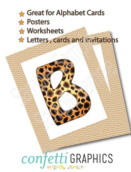 26 Cheetah Leopard Alphabet Letters Safari Camp Wild Animal Clip Art (Not Font)