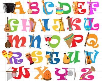 26 ClipArt - Musical instruments Alphabet ClipArt- Digital