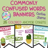 26 Commonly Confused Words Colored Banners Cactus Theme