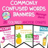 26 Commonly Confused Words Colored in Print Posters  Flamingo Tropical Theme