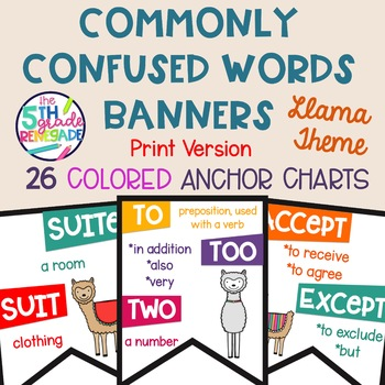 26 Commonly Confused Words Colored in Print Posters  Llama Alpaca Theme