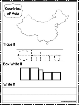 26 Countries of Asia Worksheets Geography Curriculum.