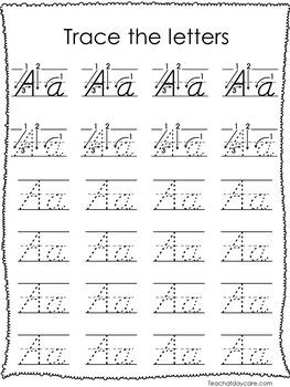 26 D'Nealian Trace the Alphabet Worksheets. Preschool-2nd Grade ...
