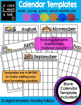 26 Editable Monthly Calendar Templates