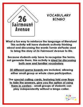 26 Fairmount Avenue Vocabulary Bingo