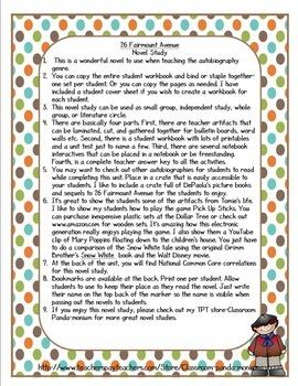 26 Fairmount Avenue Novel Study and FREE Task Cards (CC Aligned)