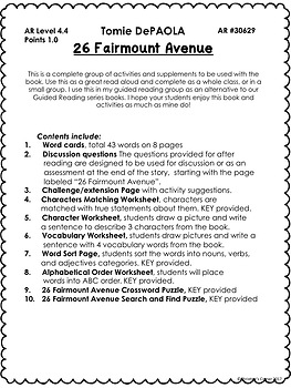 26 Fairmount Avenue book activities worksheets comprehension vocabulary