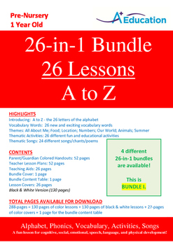26-IN-1 BUNDLE - 26 Lessons - A to Z (Bundle 1) - Pre-Nursery (1 year old)