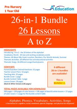 26-IN-1 BUNDLE - 26 Lessons - A to Z (Bundle 2) - Pre-Nurs