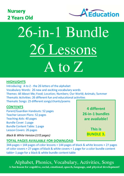 26-IN-1 BUNDLE - 26 Lessons - A to Z (Bundle 3) - Nursery (2 years old)