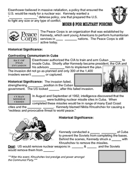 26 - The Kennedy Years - Scaffold/Guided Notes (Blank and Filled-In)