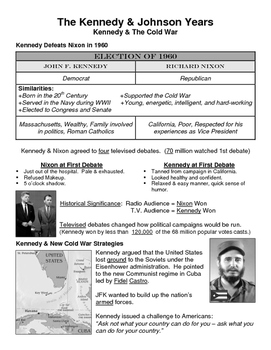 26 - The Kennedy Years - Scaffold/Guided Notes (Filled-In Only)