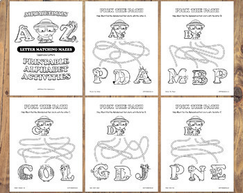 26 Letter Matching Mazes Worksheets – Letter of the Week Printables