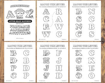 Alphabetimals™ Letter Shape Matching – 26 Printable Animal ABC Activities