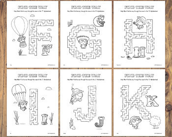 Alphabetimals™ Letter-Shaped Mazes – 26 Printable Animal ABC Activities
