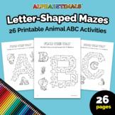 Alphabetimals™ Letter-Shaped Mazes – 26 Printable Animal A