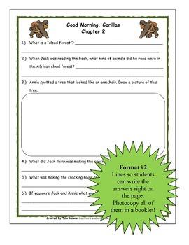 #26 Magic Tree House- Good Morning, Gorillas Novel Study