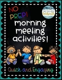 26 Morning Meeting Activities for Upper Elementary - Quick