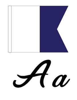26 Each Font Nautical Signal Flag Alphabet Posters Full Color 81/2 X 11 Size A-Z