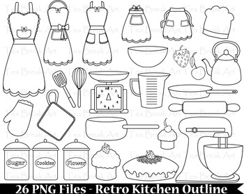 26 PNG Files- Retro Kitchen Outline -Digital Clip Art - 300 dpi 097