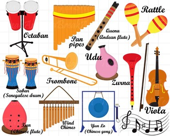 26 PNG/JPG Musical Instruments ClipArt Set 2- Digital Clip ...