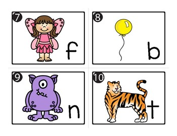 26 Picture-Letter Match Task Cards for SCOOT, Write the Room, Centers Color & BW