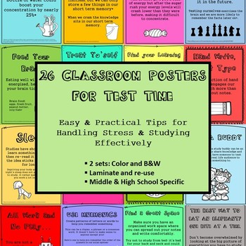 26 Posters on Test and Study Skills