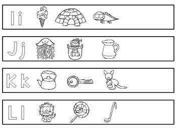 26 Printable Alphabet Bracelets. Preschool-KDG Phonics.