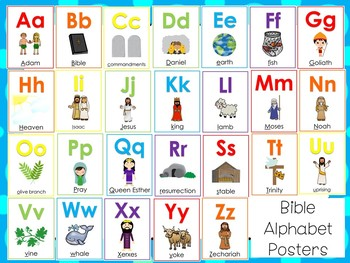 image about Alphabet Poster Printable titled 26 Printable Bible Alphabet Posters. Preschool-Kindergarten Phonics.