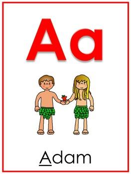 26 Printable Bible Alphabet Posters. Preschool-Kindergarten Phonics.